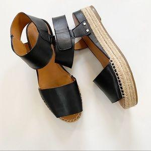 Franco Sarto A-Oak black open toe platform sandals